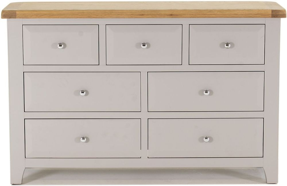 Vida Living Clemence 4+3 Drawer Chest - Oak and Grey Painted