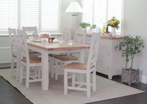 Vida Living Clemence Grey Painted Dining Set - Extending with 6 Dining Chairs