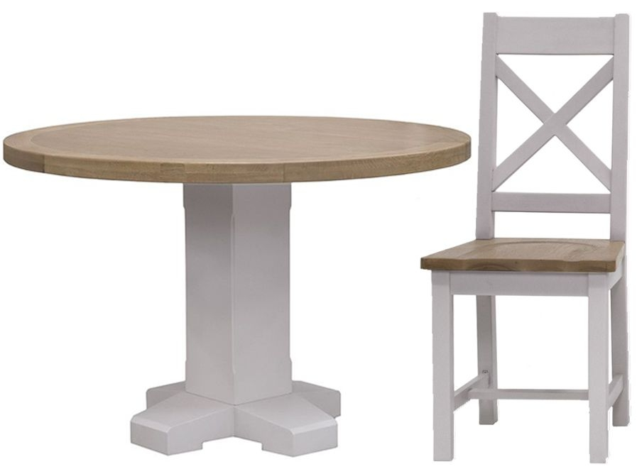 Vida Living Clemence Grey Painted Dining Set - Round with 4 Dining Chairs