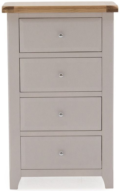 Vida Living Clemence Grey Painted Slim Chest of Drawer - Tall 4 Drawer