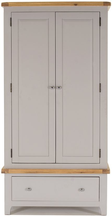 Vida Living Clemence Grey Painted 2 Door 1 Drawer Double Wardrobe