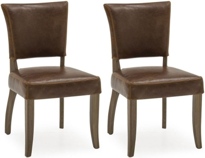 Vida Living Duke Tan Brown Leather Dining Chair (Pair)