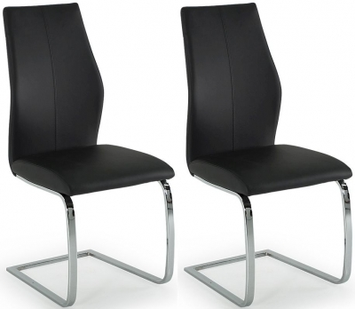 Vida Living Elis Black Faux Leather Dining Chair (Pair)