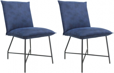 Vida Living Lukas Indigo Blue Fabric Dining Chair (Pair)