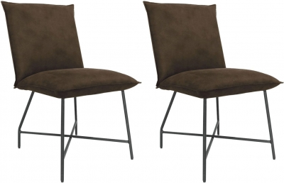 Vida Living Lukas Brown Fabric Dining Chair (Pair)
