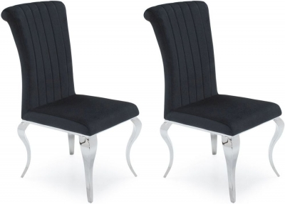 Vida Living Nicole Black Fabric Dining Chair (Pair)