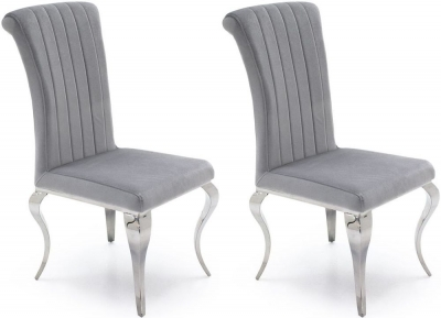 Vida Living Nicole Silver Fabric Dining Chair (Pair)