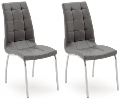 Vida Living Nina Grey Faux Leather Dining Chair (Pair)