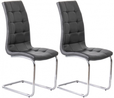Vida Living Sienna Black Faux Leather Dining Chair (Pair)