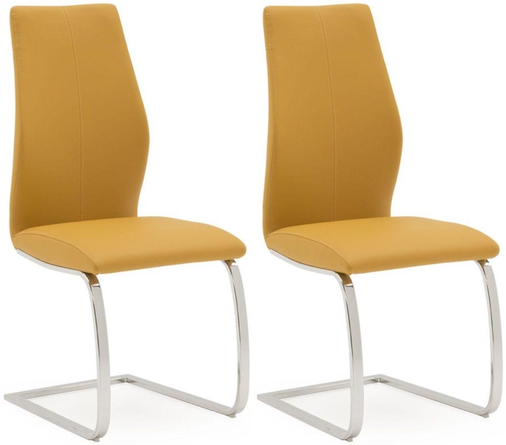 211 & Vida Living Elis Pumpkin Faux Leather Dining Chair (Pair)