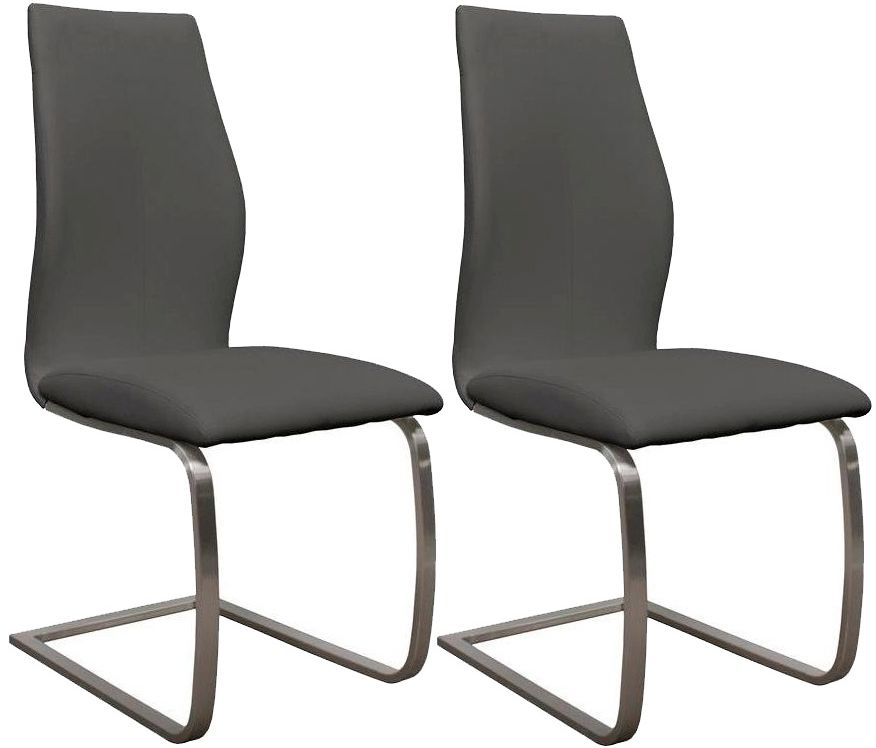 buy vida living irma grey faux leather dining chair pair online cfs uk. Black Bedroom Furniture Sets. Home Design Ideas
