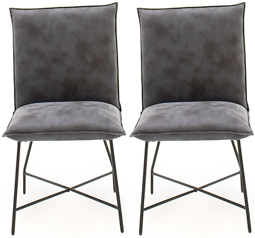Product photograph showing Vida Living Lukas Grey Fabric Dining Chair Pair