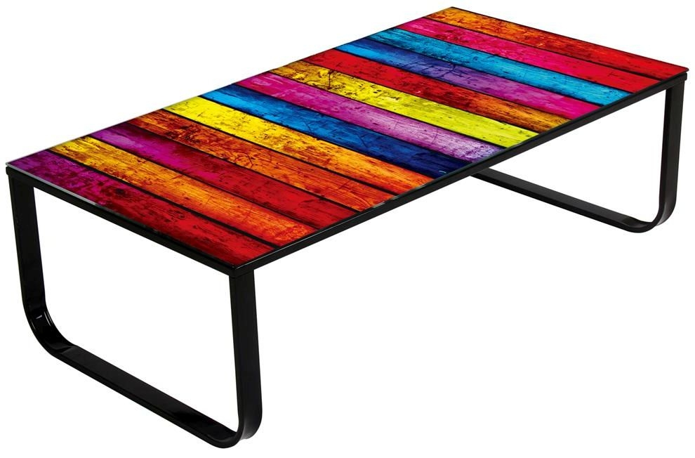 Vida Living Noda Lumber Glass Top Coffee Table - Rainbow