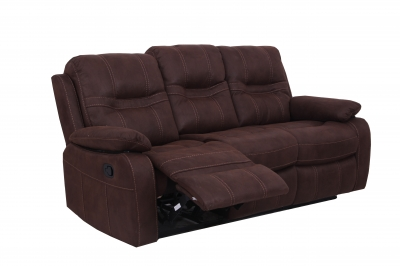 Vida Living Corelli 3 Seater Fabric Recliner Sofa - Brown
