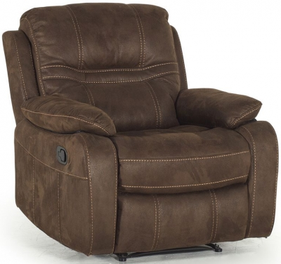 Vida Living Corelli Brown Fabric Recliner Armchair