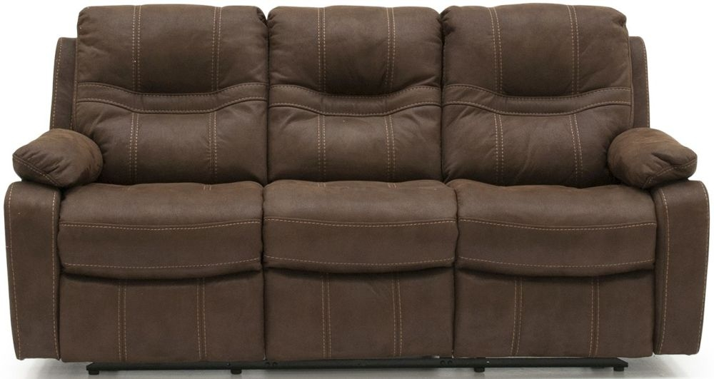 Vida Living Corelli Brown Fabric 3 Seater Recliner Sofa