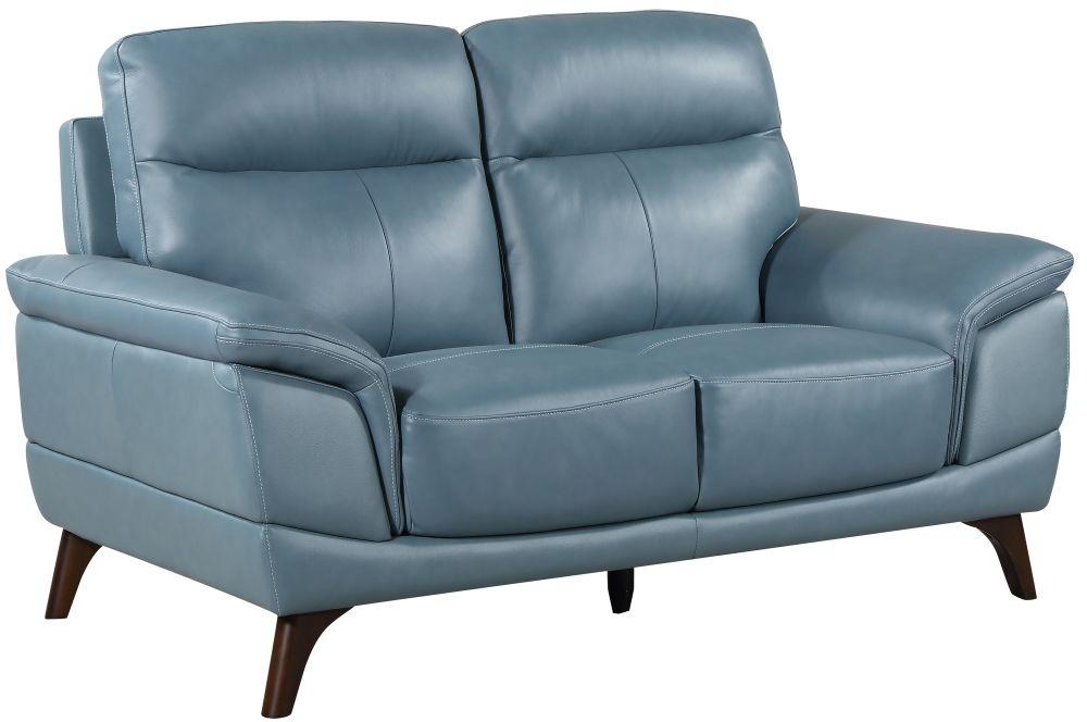 Vida Living Cosimo Blue Leather 2 Seater Fixed Sofa