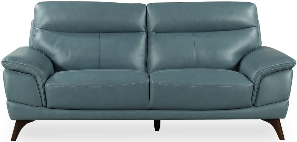 Vida Living Cosimo Blue Leather 3 Seater Fixed Sofa