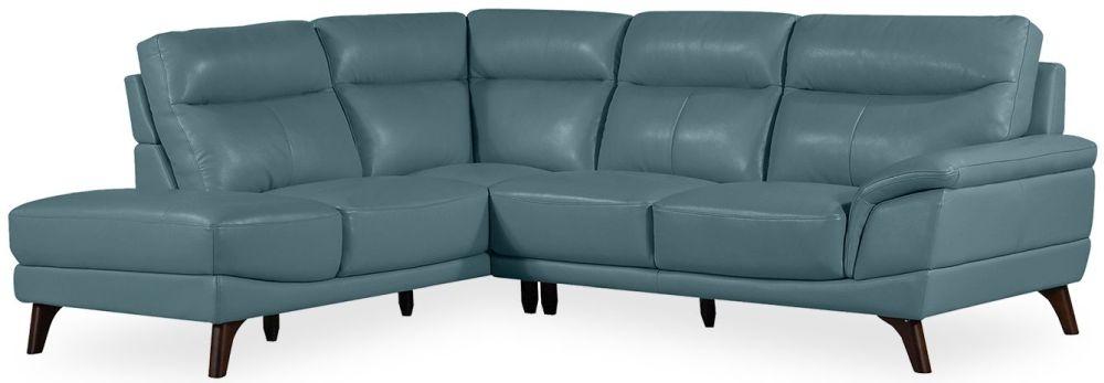 Vida Living Cosimo Blue Leather Left Corner Sofa Suite