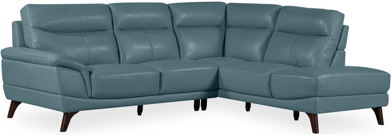 Vida Living Cosimo Blue Leather Right Corner Sofa Suite
