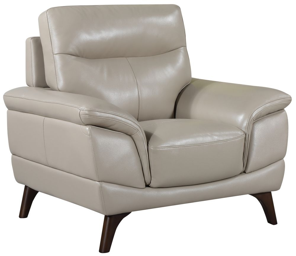Vida Living Cosimo Taupe Leather Fixed Armchair