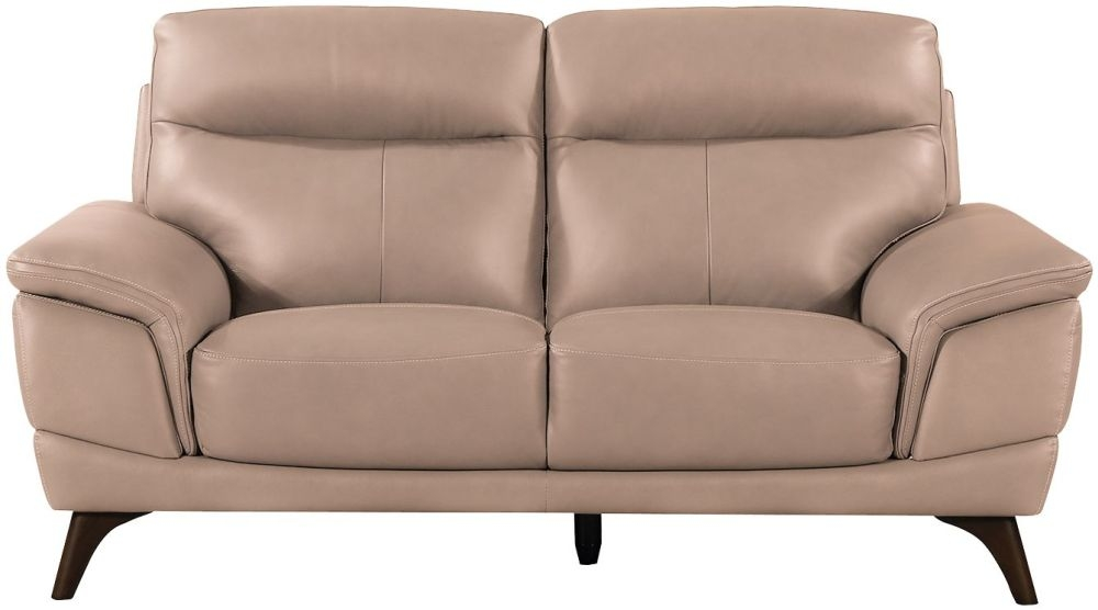 Vida Living Cosimo Taupe Leather 2 Seater Fixed Sofa