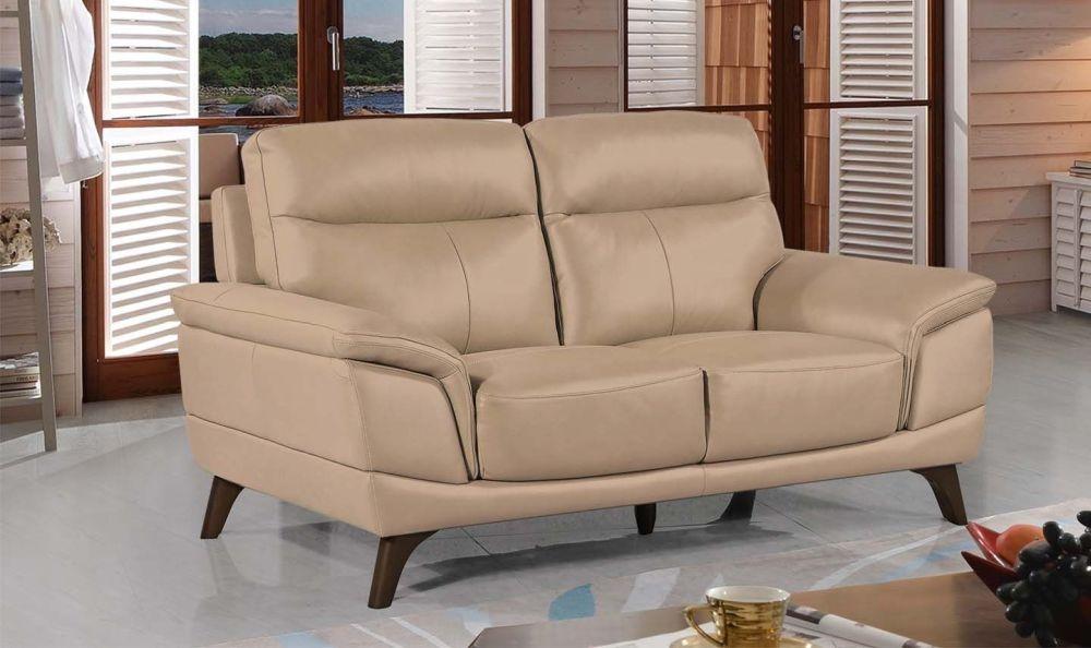 Vida Living Cosimo Taupe Leather 3 Seater Fixed Sofa