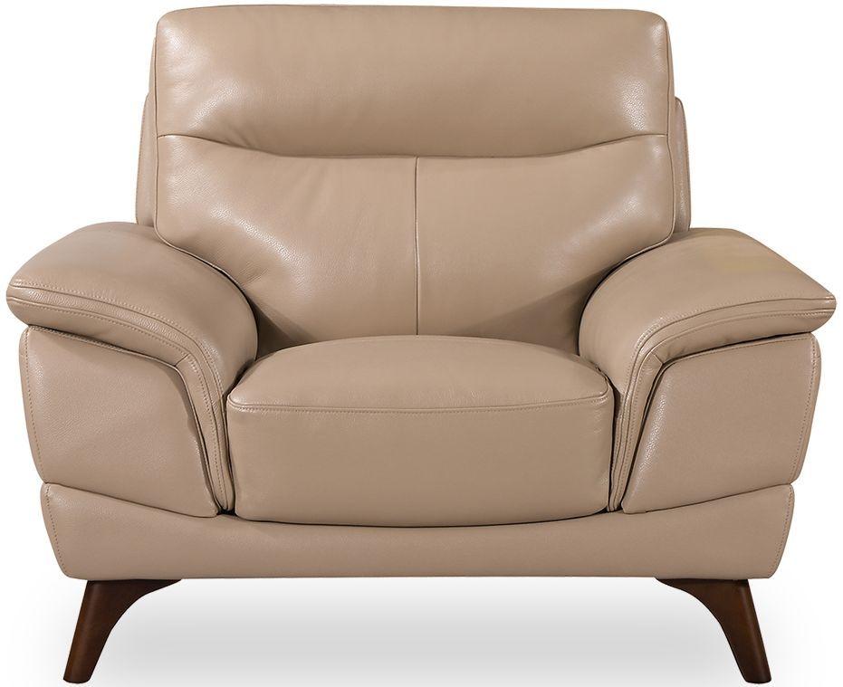 Vida Living Cosimo Taupe Leather Fixed Armchair