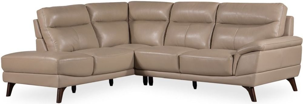 Vida Living Cosimo Taupe Leather Left Corner Sofa Suite