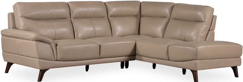 Vida Living Cosimo Taupe Leather Right Corner Sofa Suite