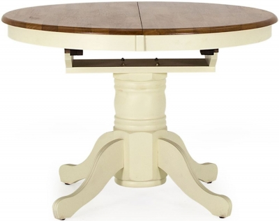 Vida Living Cotswold Buttermilk Painted Round Extending Dining Table