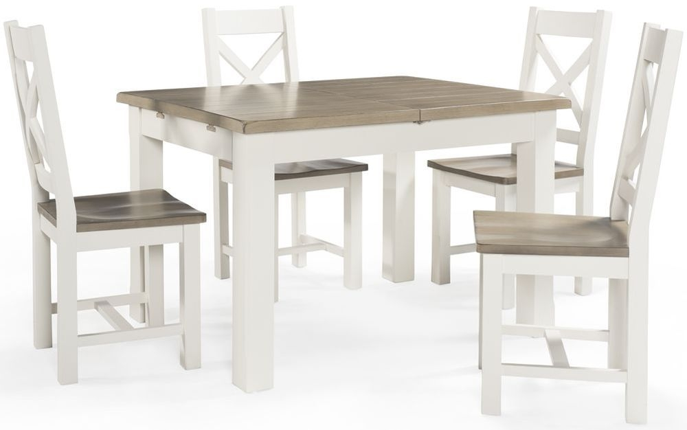 Vida Living Cranmore Pine Dining Set - 120cm Extending with 4 Cross Back Chairs