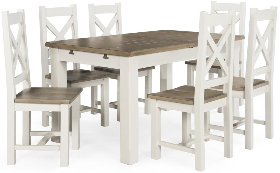 Vida Living Cranmore Pine Rectangualr Extending Dining Set with 4 Cross Back Chairs - 150cm-190cm