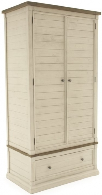 Vida Living Croft Ivory Painted 2 Door 1 Drawer Wardrobe