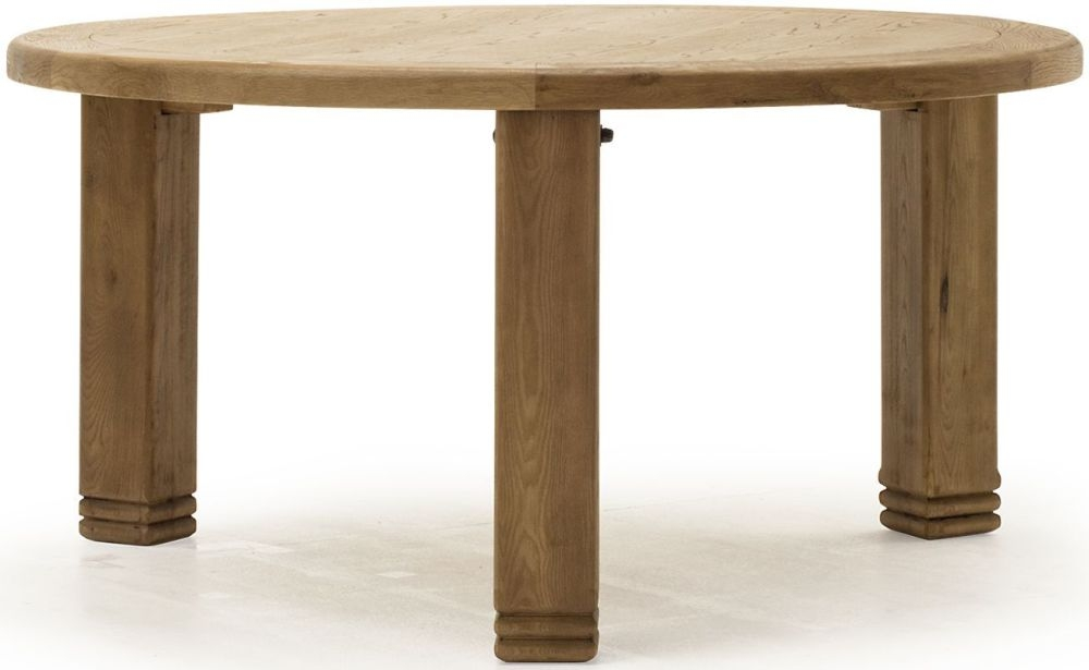 Vida Living Danube Natural Oak Round Fixed Top Dining Table - 156cm