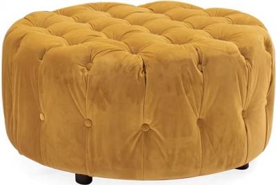 Vida Living Darby Mustard Velvet Round Footstool