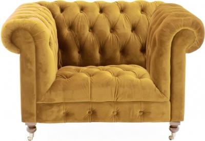 Vida Living Darby Mustard Velvet 1 Seater Sofa