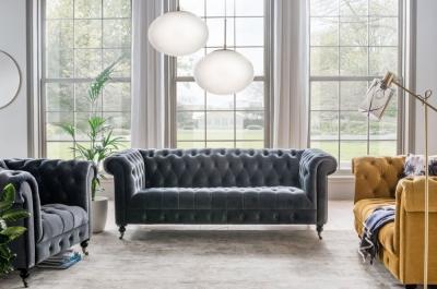 Vida Living Darby 3 Seater Sofa - Grey Velvet