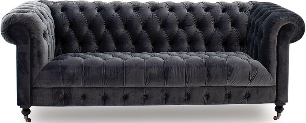 Vida Living Darby Grey Velvet 3 Seater Sofa