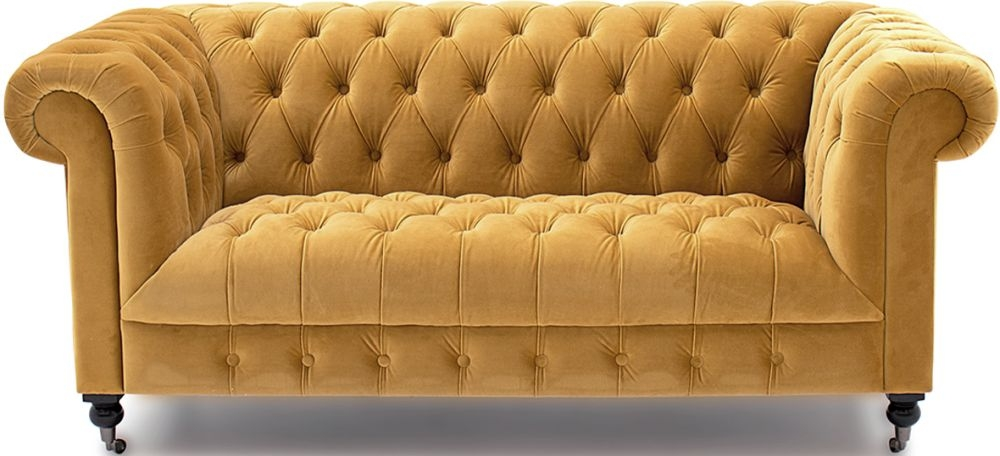 Vida Living Darby Mustard Velvet 2 Seater Sofa
