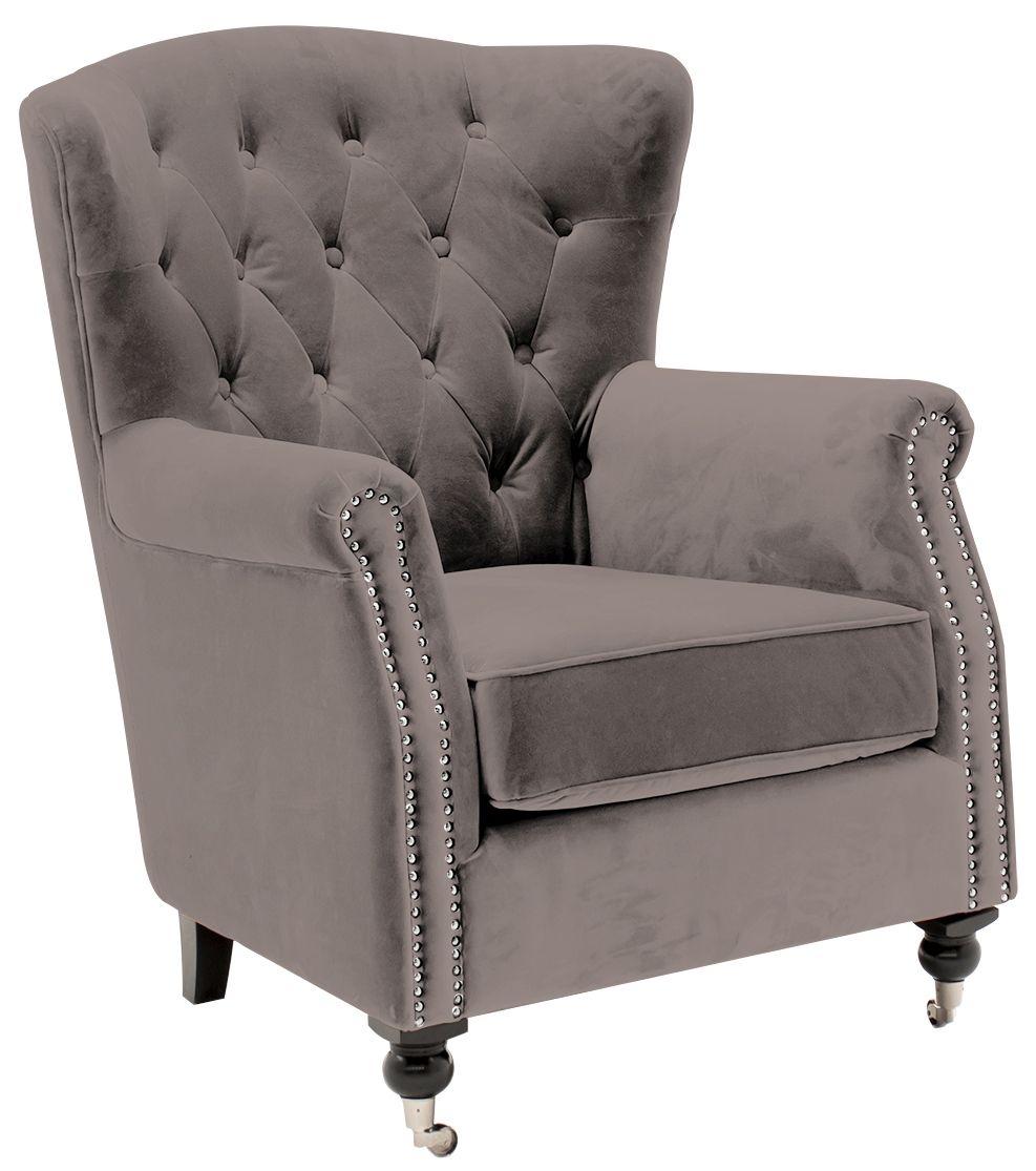 Vida Living Darby Mink Velvet Wingback Chair