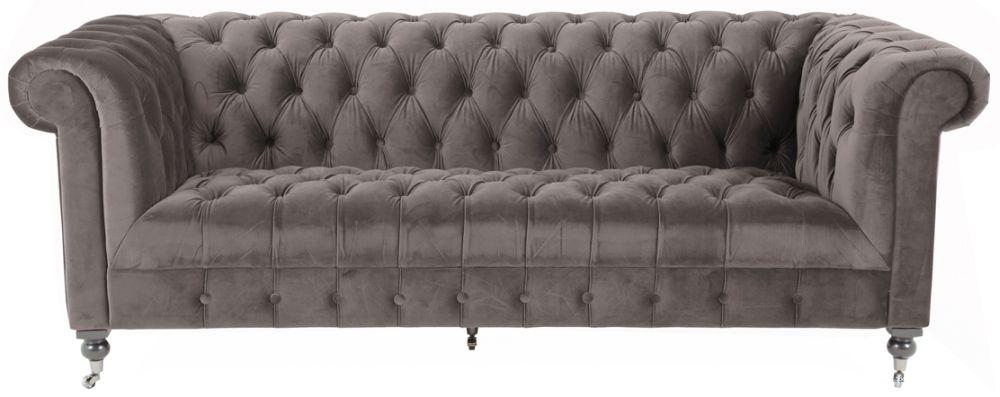 Vida Living Darby Mink Velvet 3 Seater Sofa