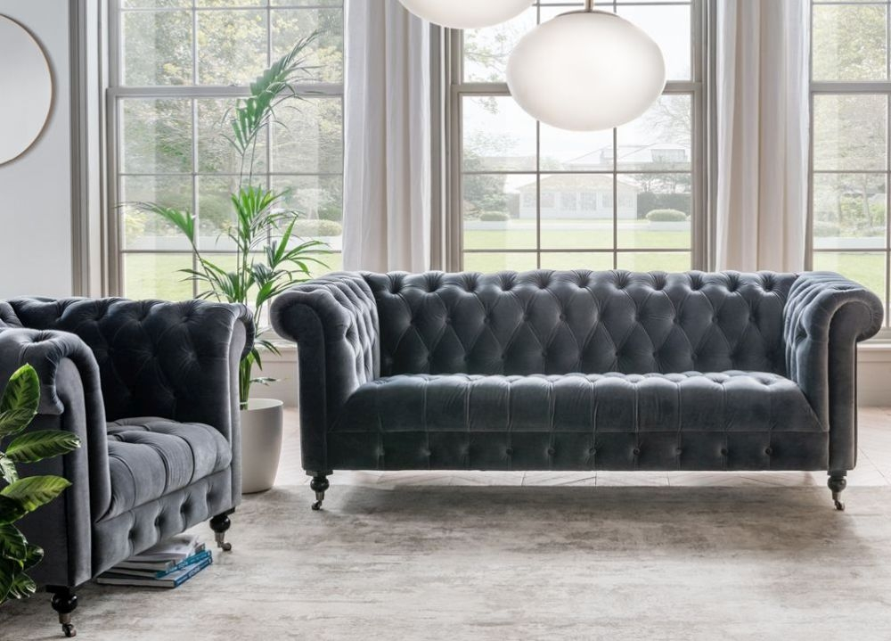 Vida Living Darby 2 Seater Sofa - Grey Velvet