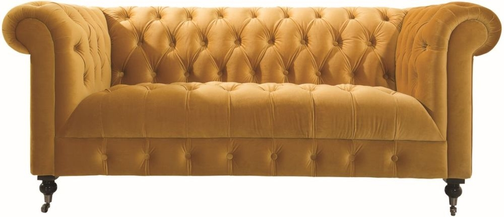 Vida Living Darby 2 Seater Sofa - Mustard Velvet