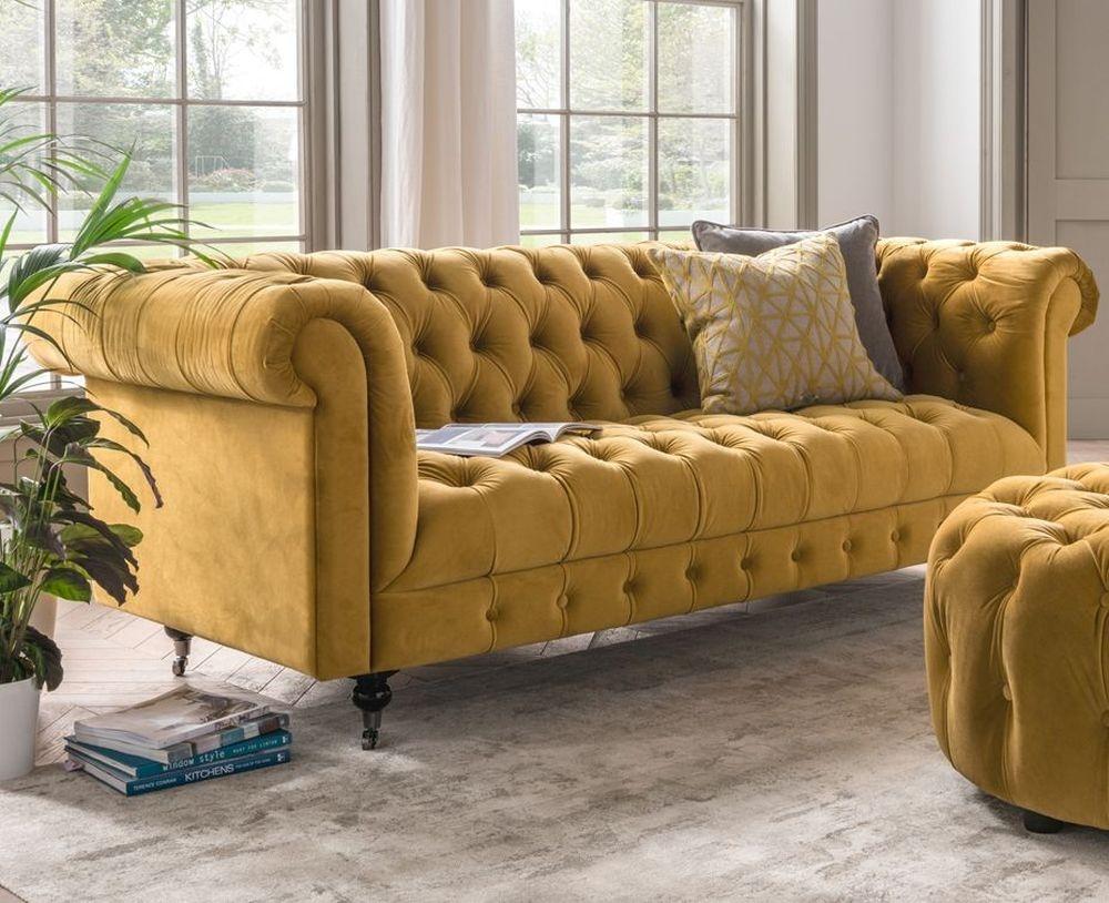 Vida Living Darby 3 Seater Sofa - Mustard Velvet