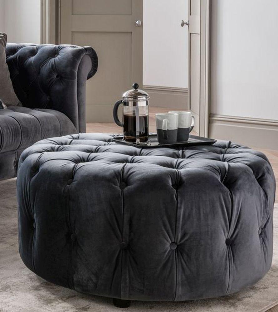 Vida Living Darby Round Footstool - Grey Velvet