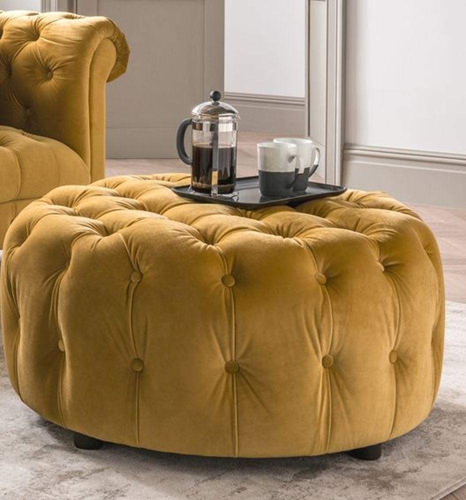 Vida Living Darby Round Footstool - Mustard Velvet