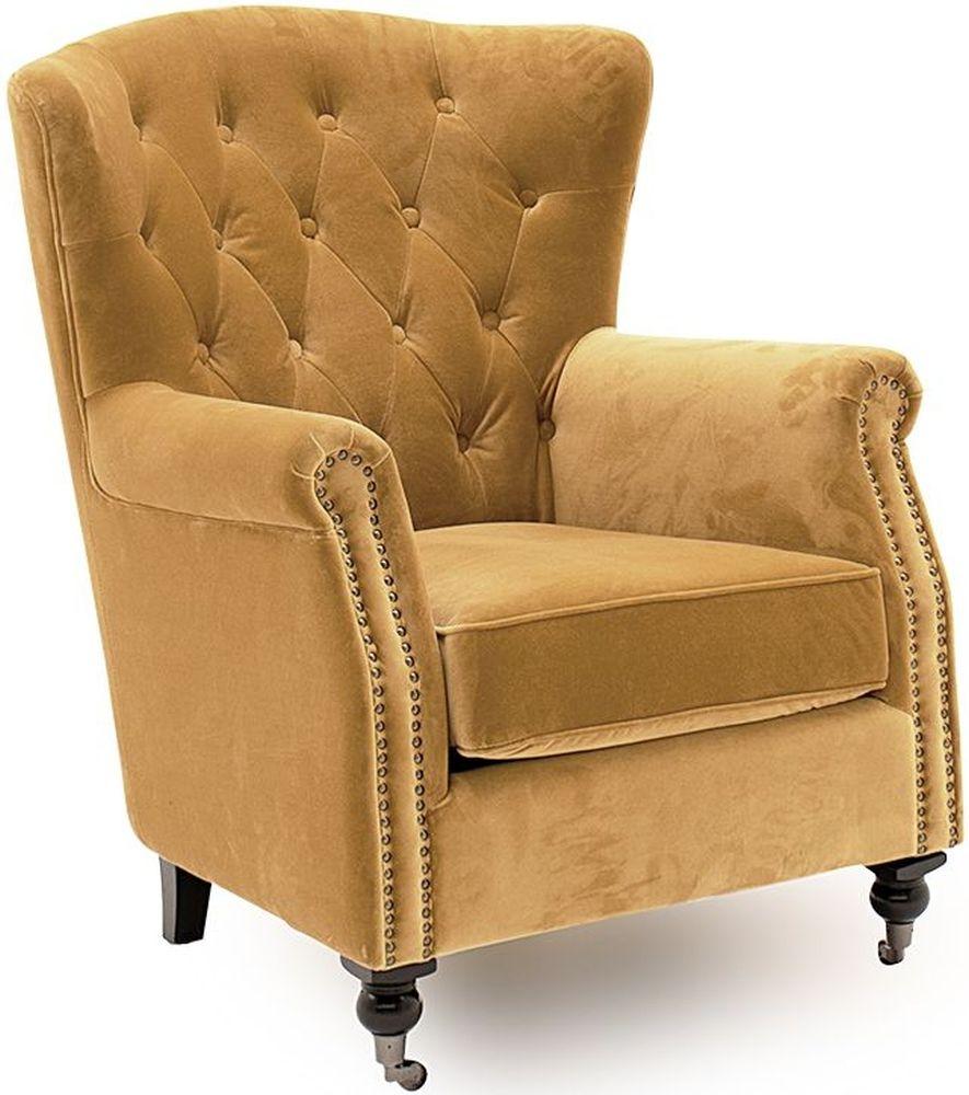 Vida Living Darby Wingback Chair - Mustard Velvet