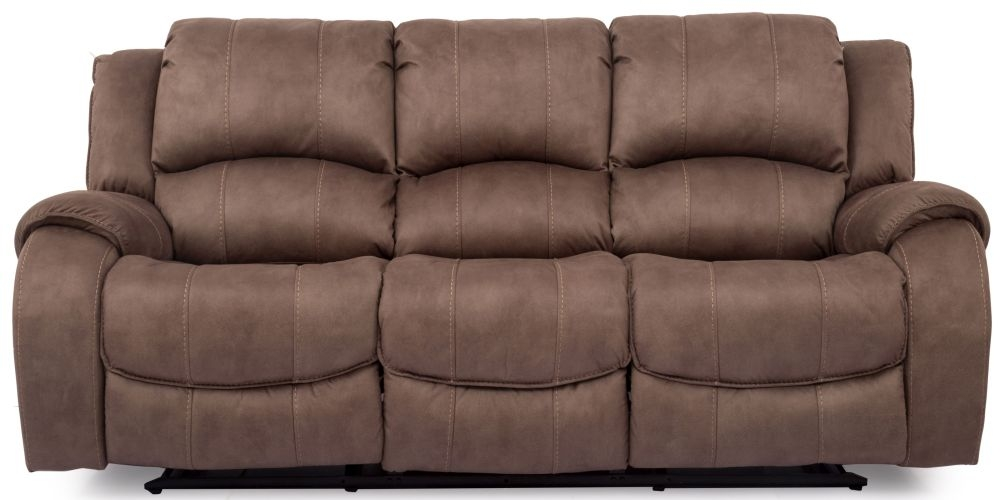 Vida Living Darwin Biscuit Fabric 3 Seater Recliner  Sofa