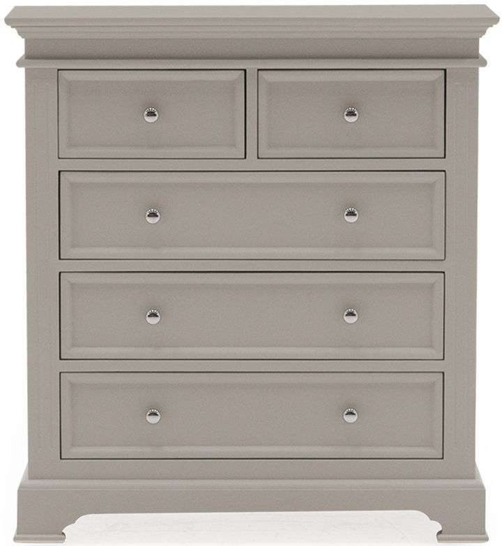 Vida Living Deauville Taupe Painted Chest of Drawer - Tall 2+3 Drawer